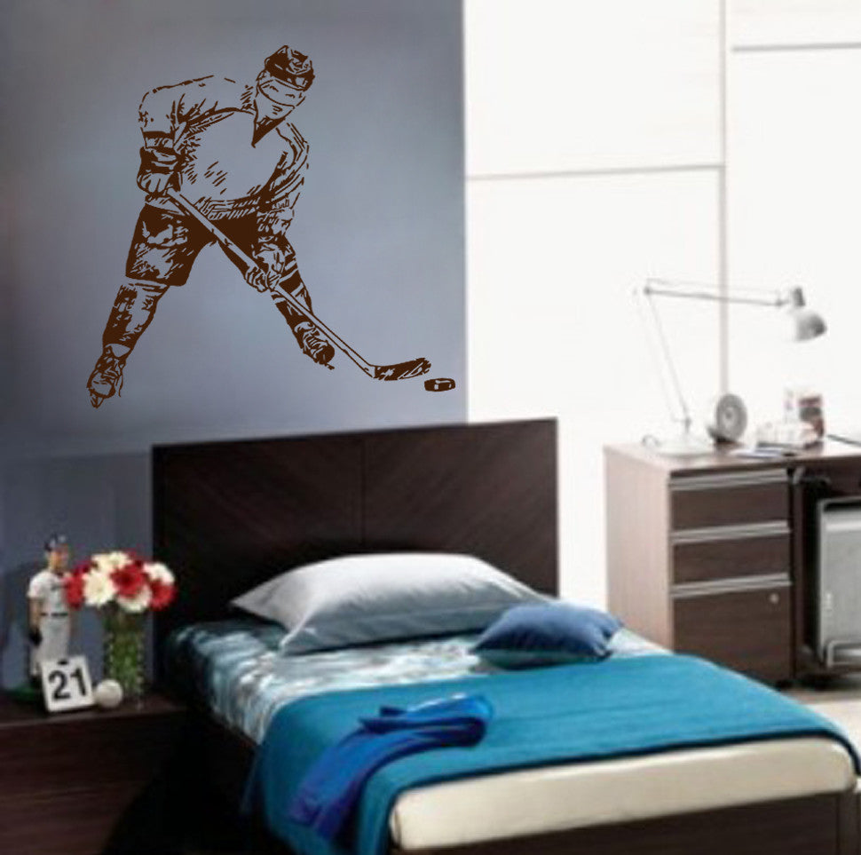 ik615 Wall Decal Sticker hockey rink ice hockey stick puck team sport bedroom