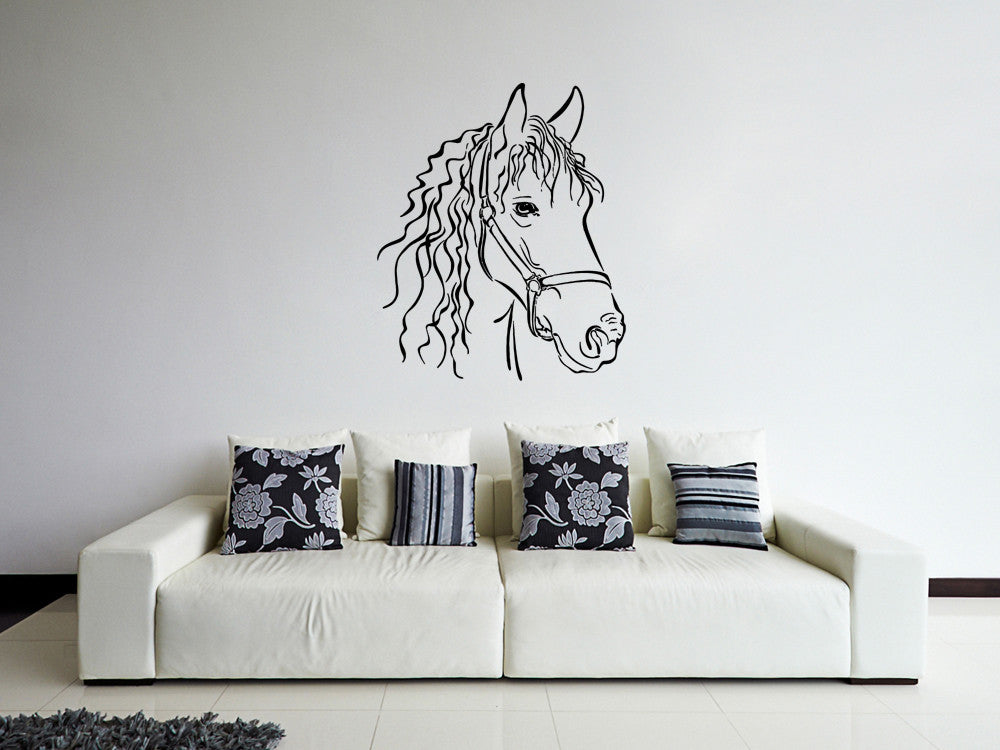 ik659 Wall Decal Sticker head horse nag pet stallion thoroughbred horse bedroom