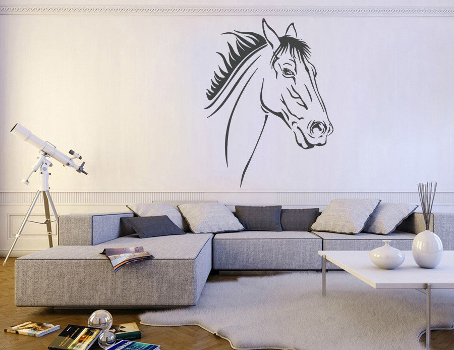 ik660 Wall Decal Sticker head horse nag pet stallion thoroughbred horse bedroom