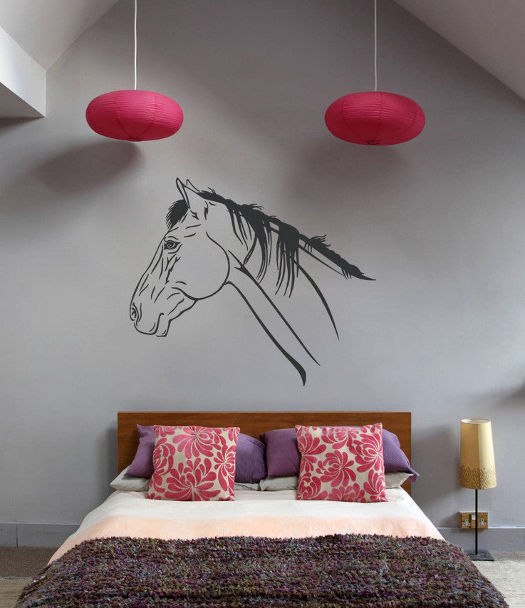 ik661 Wall Decal Sticker head horse nag pet stallion thoroughbred horse bedroom