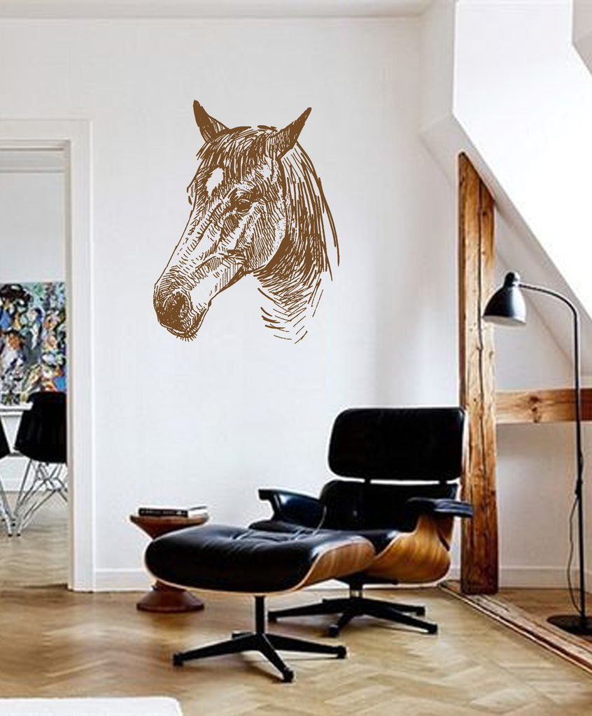 ik662 Wall Decal Sticker head horse nag pet stallion thoroughbred horse bedroom