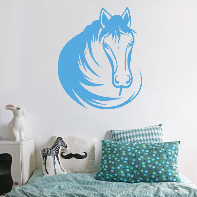 ik667 Wall Decal Sticker head horse nag pet stallion thoroughbred horse bedroom