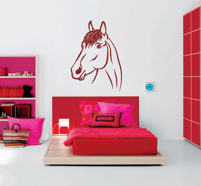 ik668 Wall Decal Sticker head horse nag pet stallion thoroughbred horse bedroom