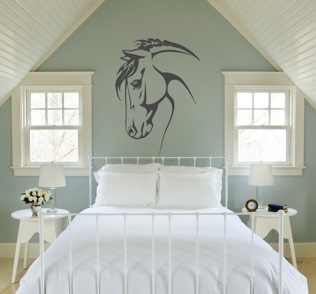 ik684 Wall Decal Sticker head horse nag pet stallion thoroughbred horse bedroom