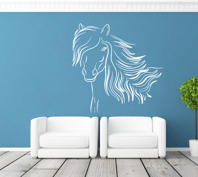 ik690 Wall Decal Sticker head horse nag pet stallion thoroughbred horse bedroom