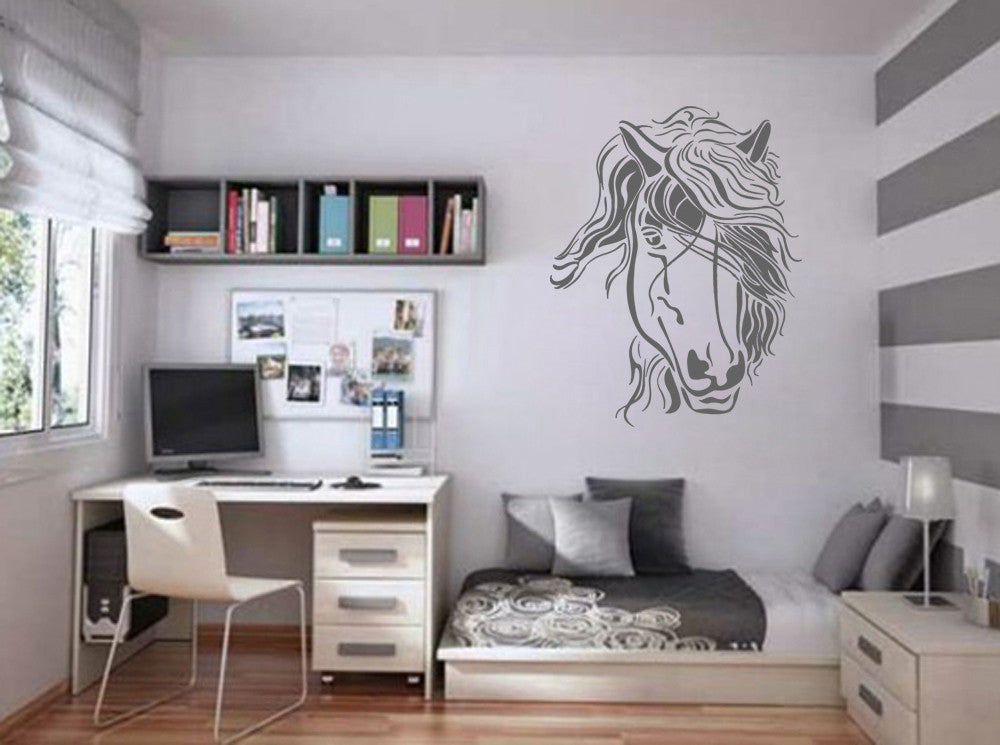 ik692 Wall Decal Sticker head horse nag pet stallion thoroughbred horse bedroom