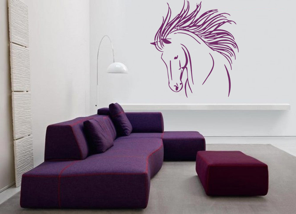 ik695 Wall Decal Sticker head horse nag pet stallion thoroughbred horse bedroom