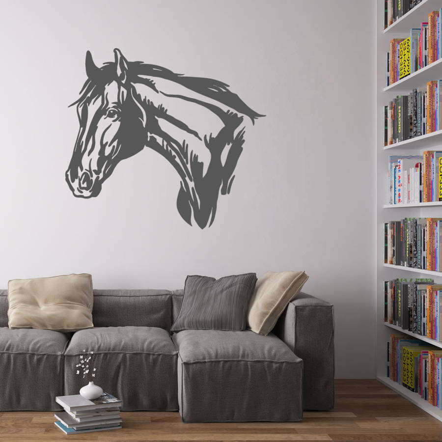 ik696 Wall Decal Sticker head horse nag pet stallion thoroughbred horse bedroom