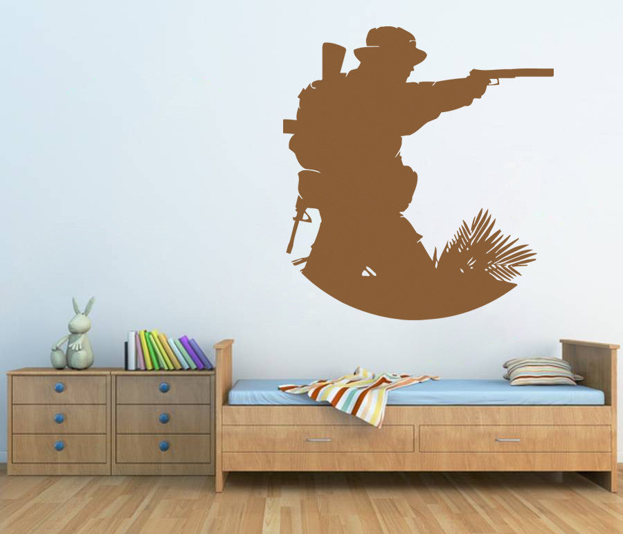 ik721 Wall Decal Sticker Decor Wall Army soldier military shooter kids room