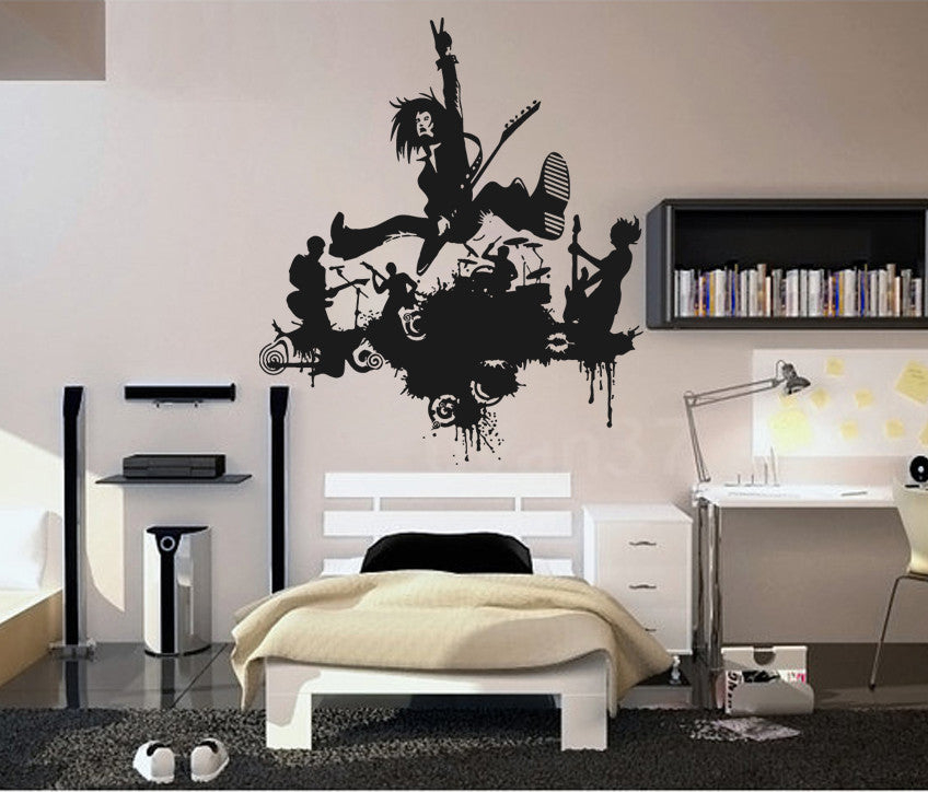 ik730 Wall Decal Sticker rock band guitar drums singer concert bedroom teens