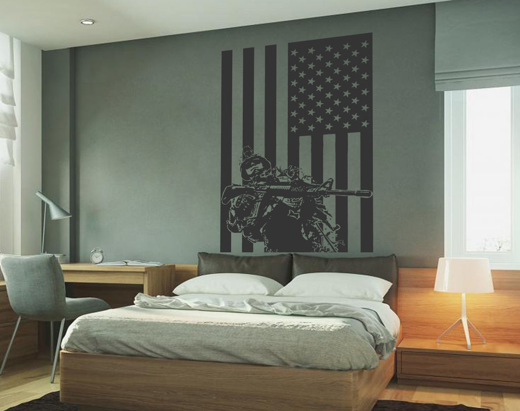 ik732 Wall Decal Sticker Army soldier military weapons American flag vest room