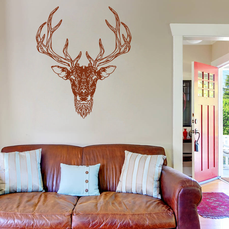 ik751 Wall Decal Sticker deer elk buck head forest animal hunting