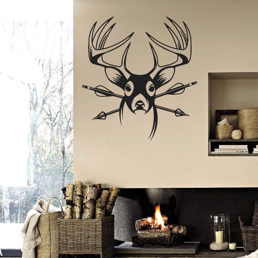ik756 Wall Decal Sticker deer elk buck head forest animal hunting