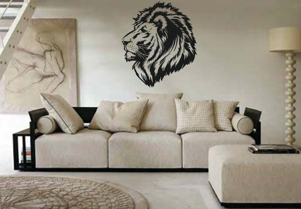 ik782 Wall Decal Sticker lion head African animals bedroom Zophar