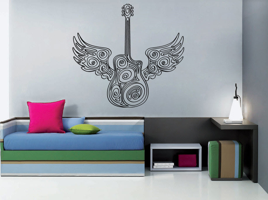 ik795 Wall Decal Sticker electric bass guitar music rock star bass wings teens