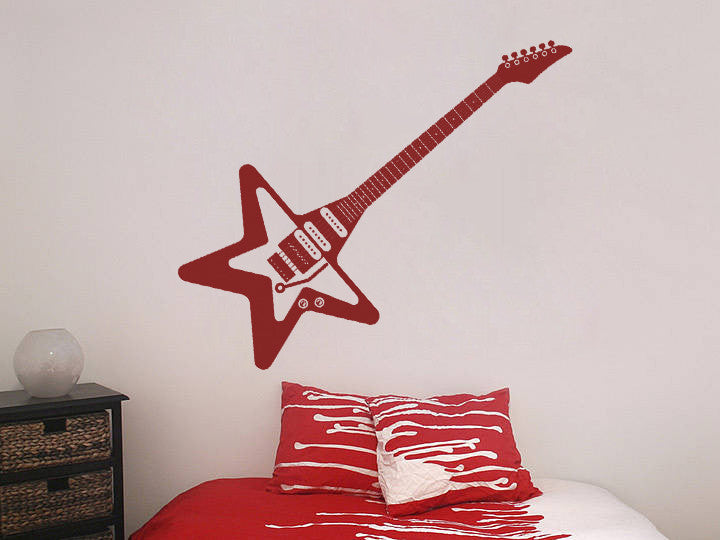 ik808 Wall Decal electric bass guitar star music song artist notes chords rock