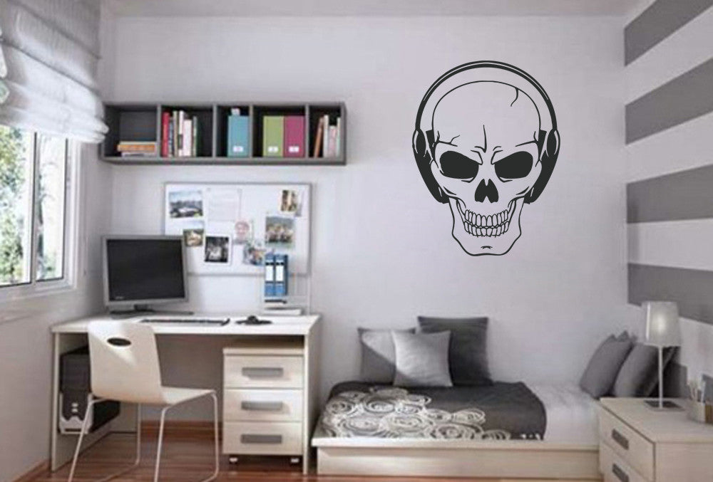 ik812 Wall Decal Sticker skull headphones music song bass bedroom teens