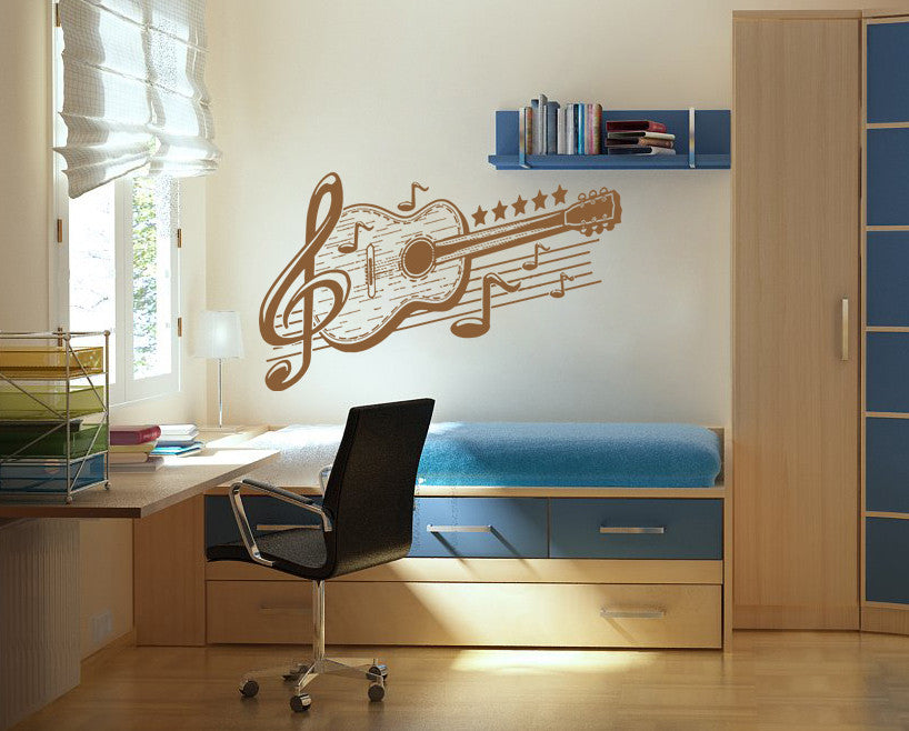 ik813 Wall Decal Sticker guitar music song artist notes chords bedroom teens