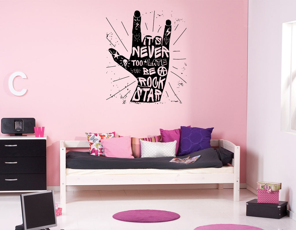 ik814 Wall Decal Sticker symbol rock hand gesture music hard rock teens
