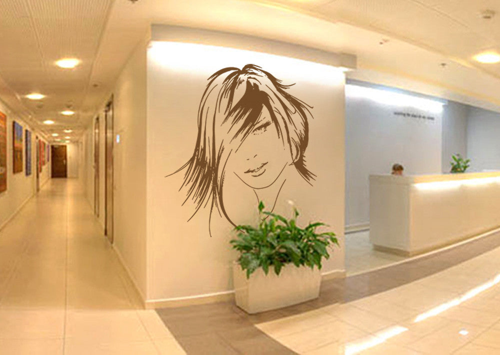 ik830 Wall Decal Sticker hair salon girl hairstyle barber scissors styling comb