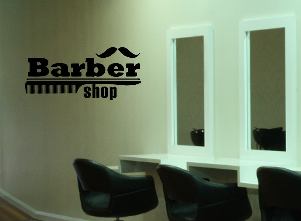ik835 Wall Decal Sticker barber shop salon moustache haircut scissors hall