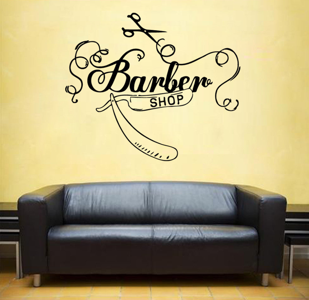 ik840 Wall Decal Sticker barber shop salon moustache haircut scissors hall