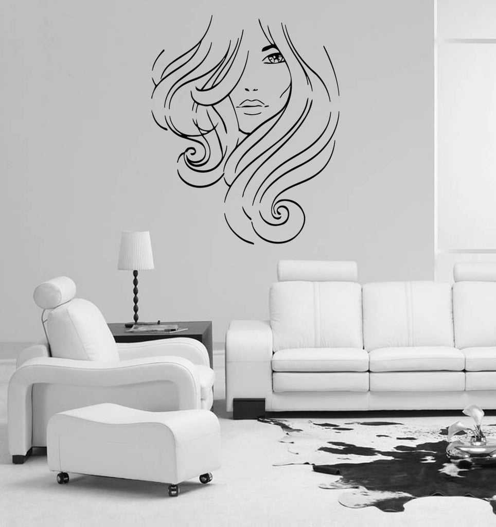 ik848 Wall Decal Sticker hair salon girl hairstyle barber scissors styling comb