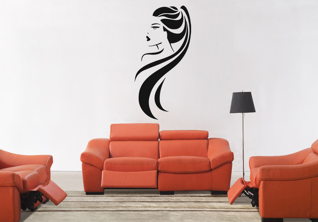 ik850 Wall Decal Sticker hair salon girl hairstyle barber scissors styling comb