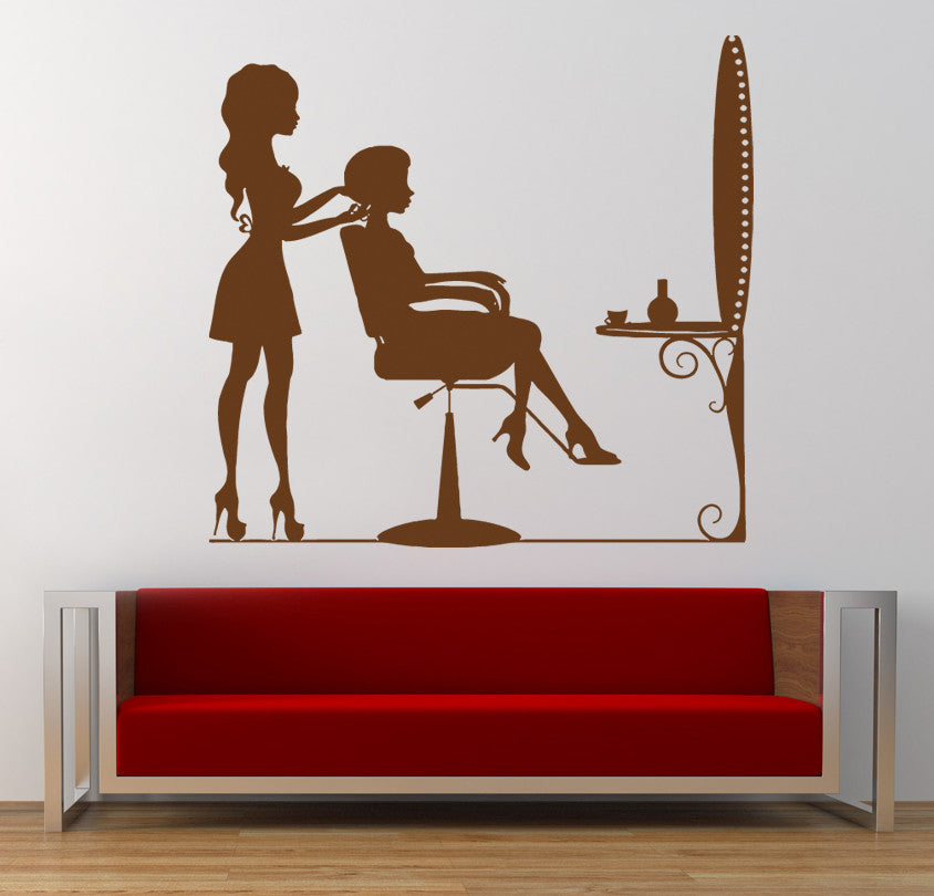 ik853 Wall Decal Sticker hair salon girl hairstyle barber scissors styling comb