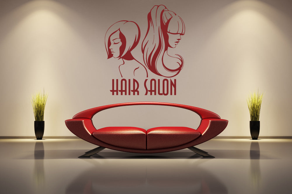 ik855 Wall Decal Sticker hair salon girl hairstyle barber scissors styling comb