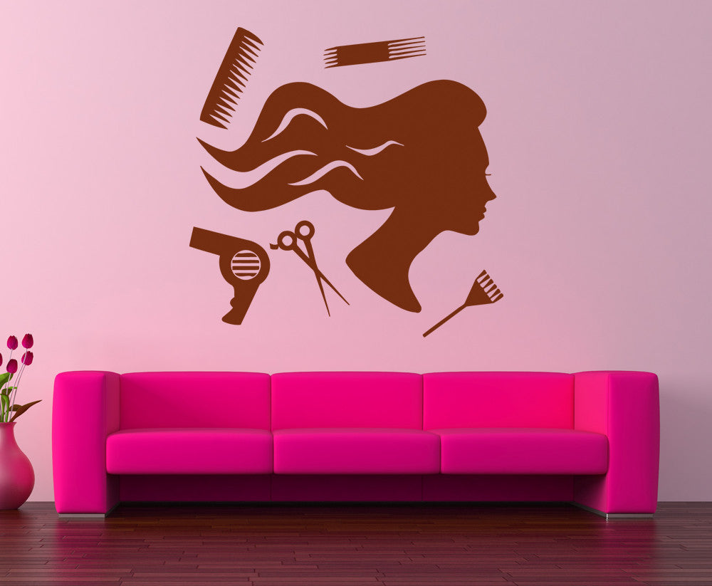 ik856 Wall Decal Sticker hair salon girl hairstyle barber scissors styling comb