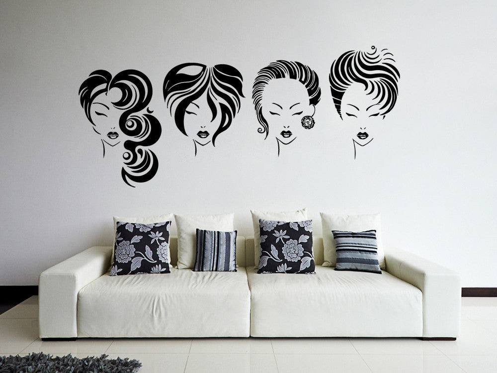 ik869 Wall Decal Sticker hair salon girl hairstyle barber scissors styling comb