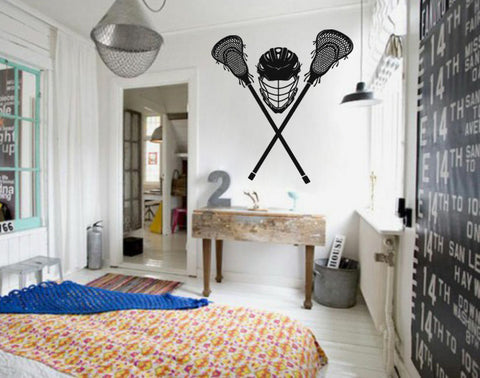ik872 Wall Decal Sticker lacrosse helmet sport room teens kids teen bedroom