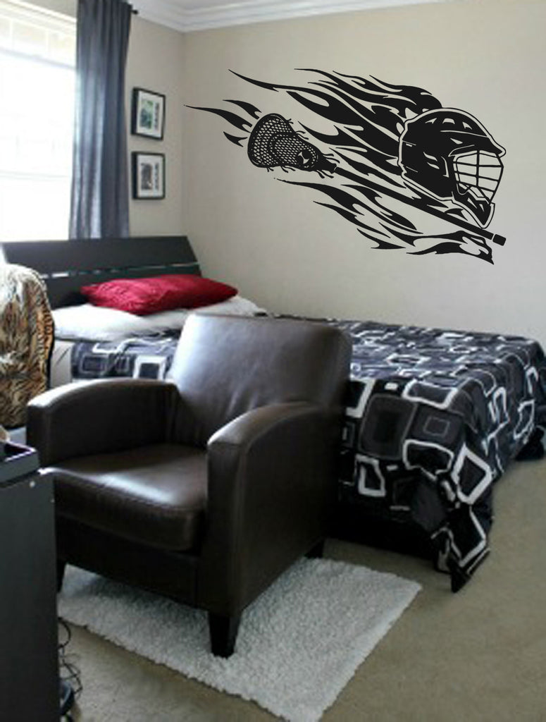 ik873 Wall Decal Sticker lacrosse helmet sport room teens kids teen bedroom