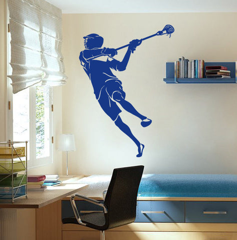 ik879 Wall Decal Sticker lacrosse helmet sport room teens kids teen bedroom