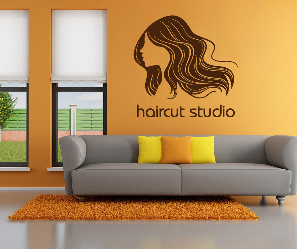 ik893 Wall Decal Sticker hair salon barber shop styling hair Reception hall