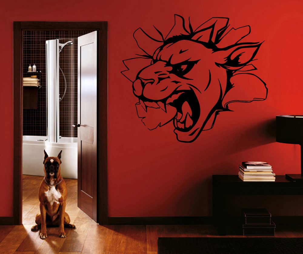 ik908 Wall Decal Sticker lioness big cat breaks kids bedroom