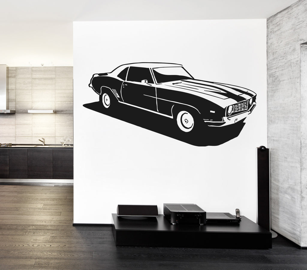 ik917 Wall Decal Sticker hot rod Camaro retro American cars room bedroom