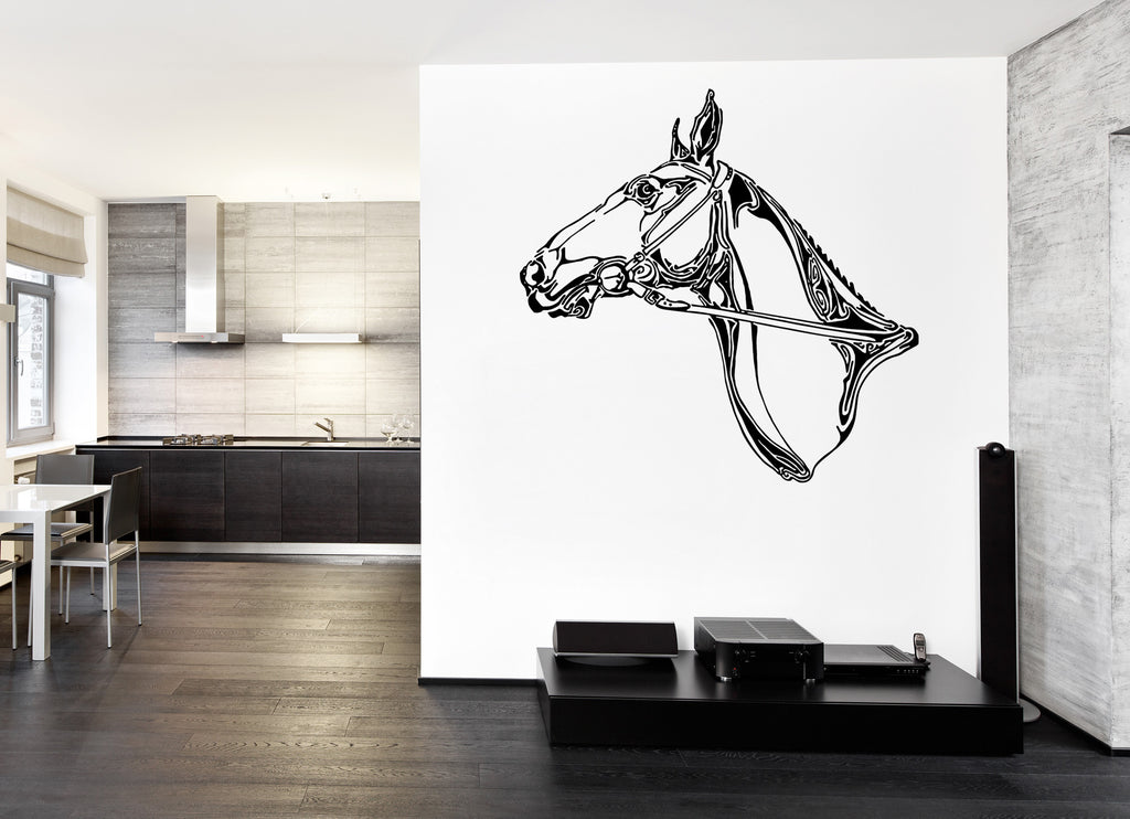 ik929 Wall Decal Sticker abstract horse head tattoo style bedroom