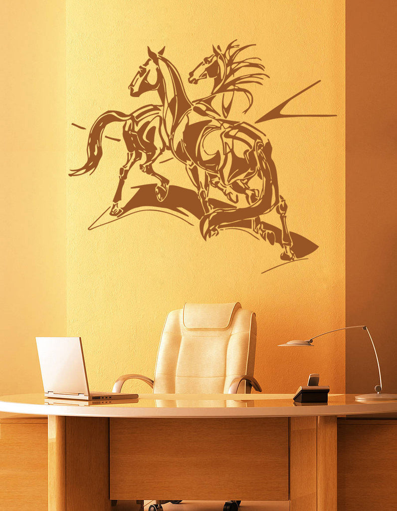 ik931 Wall Decal Sticker two horses abstraction animals bedroom