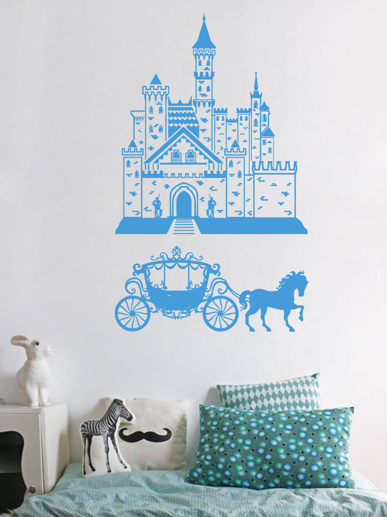 ik939 Wall Decal Sticker Castle Princess Cinderella carriage horse kids room