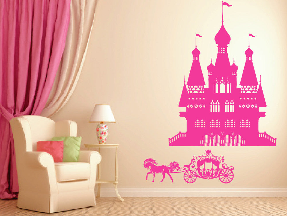 ik941 Wall Decal Sticker Castle Princess Cinderella carriage horse kids room