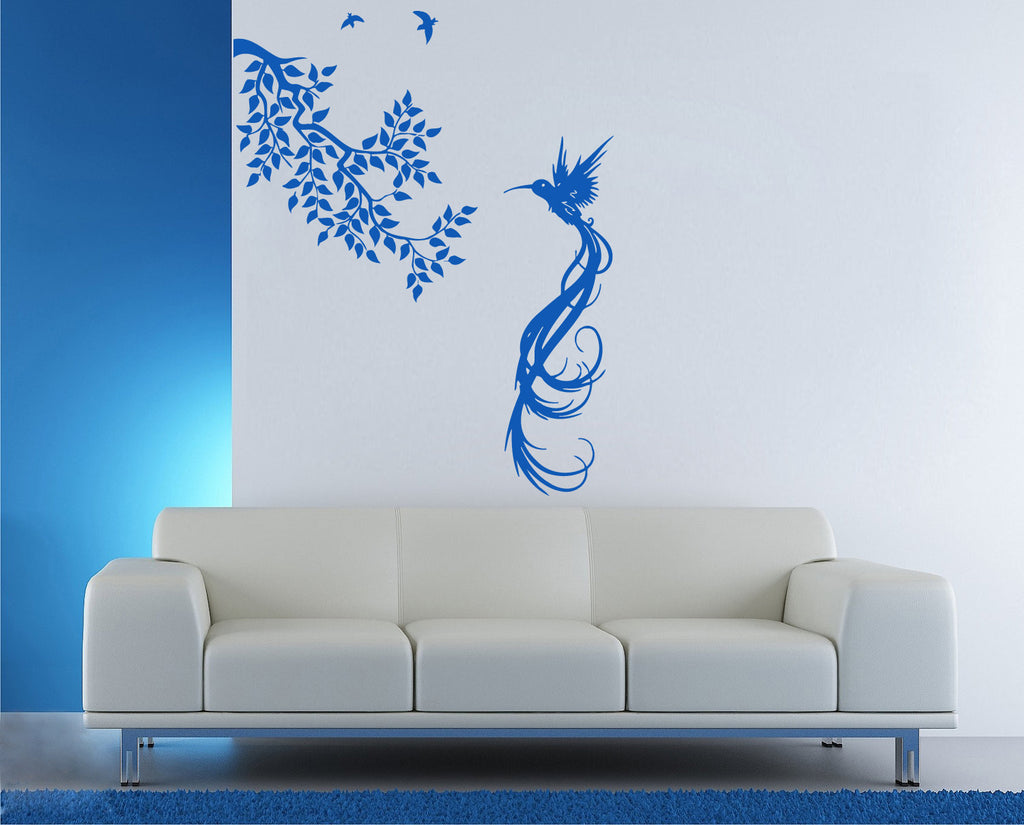 ik944 Wall Decal Sticker beautiful bird branch hummingbird living kids bedroom