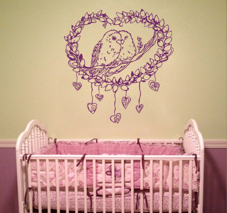 ik952 Wall Decal Sticker cute heart parrots bedroom