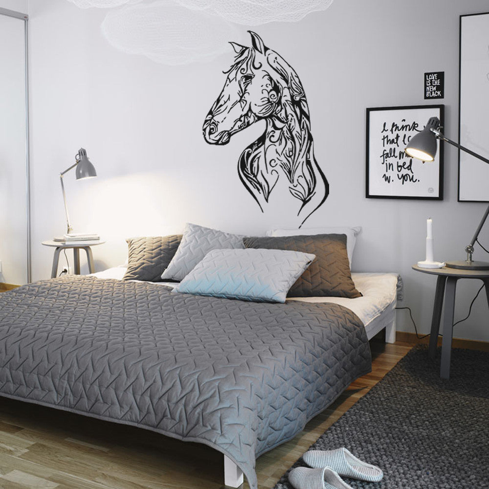 ik953 Wall Decal Sticker horse head floral ornament Wesel bedroom