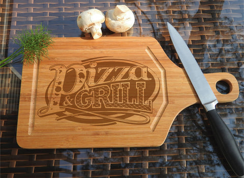 ikb10 Personalized Cutting Board Wood Grill Pizza Italian food kitchen pizzeria