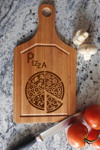 ikb11 Personalized Cutting Board Wood Pizza Italian food kitchen pizzeria