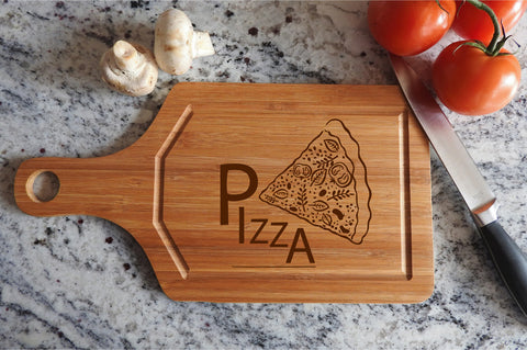 ikb12 Personalized Cutting Board Wood Pizza Italian food kitchen pizzeria