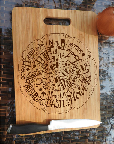 ikb16 Personalized Cutting Board Wood food pizza pizzeria kitchen