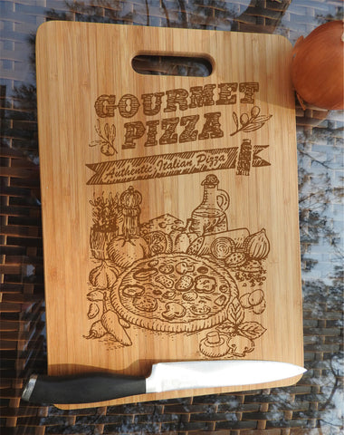 ikb1 Personalized Cutting Board Wood pizza ingredients Italian food kitchen pizzeria
